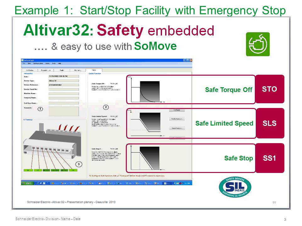 Schneider Electric 4 - Division - Name – Date Example 1: Start/Stop Facility with Emergency Stop Device Design Features ● Basic and well-tried safety principles are observed and the requirements of Category B are met.