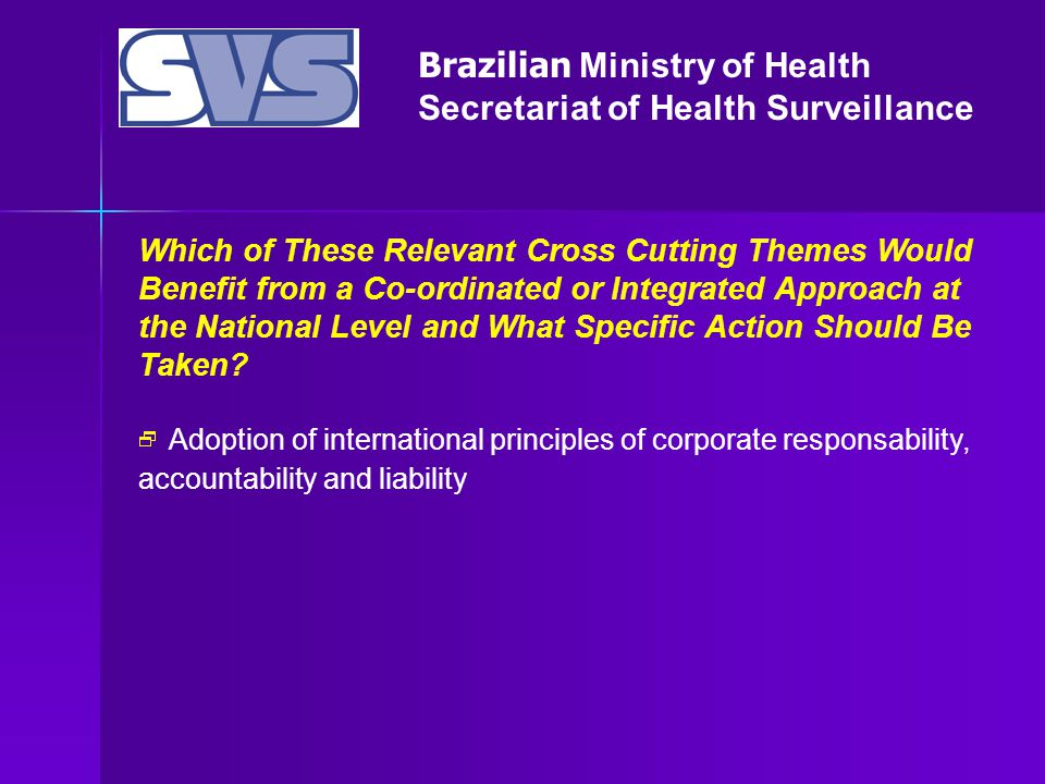 Brazilian Ministry of Health Secretariat of Health Surveillance Which of These Relevant Cross Cutting Themes Would Benefit from a Co-ordinated or Integrated Approach at the National Level and What Specific Action Should Be Taken.