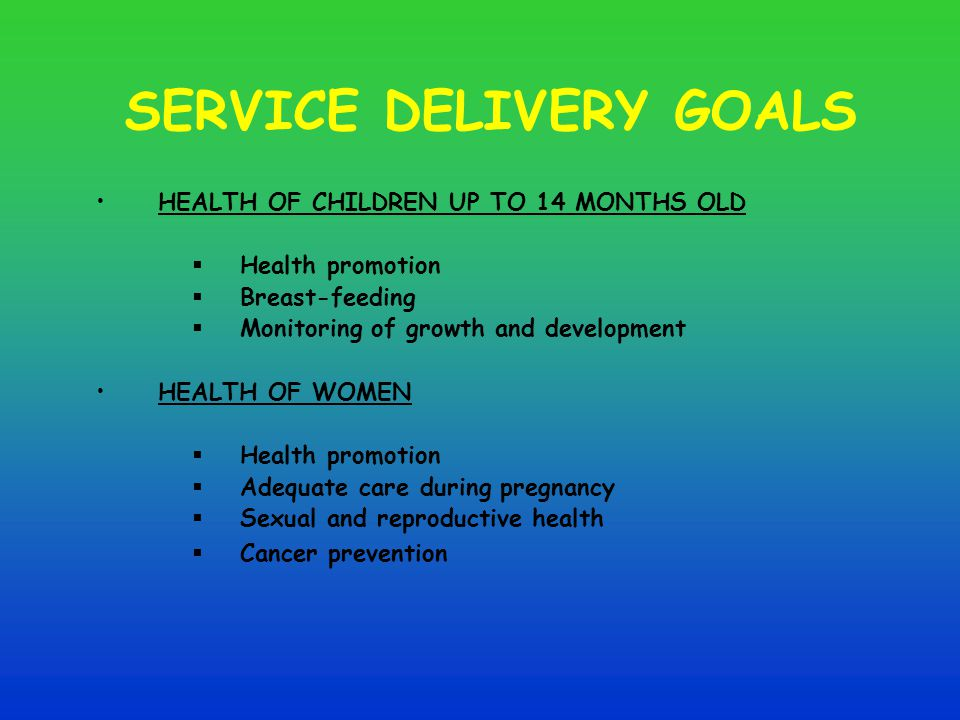 SERVICE DELIVERY GOALS HEALTH OF CHILDREN UP TO 14 MONTHS OLD  Health promotion  Breast-feeding  Monitoring of growth and development HEALTH OF WOMEN  Health promotion  Adequate care during pregnancy  Sexual and reproductive health  Cancer prevention