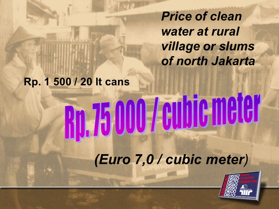 Price of clean water at rural village or slums of north Jakarta Rp.