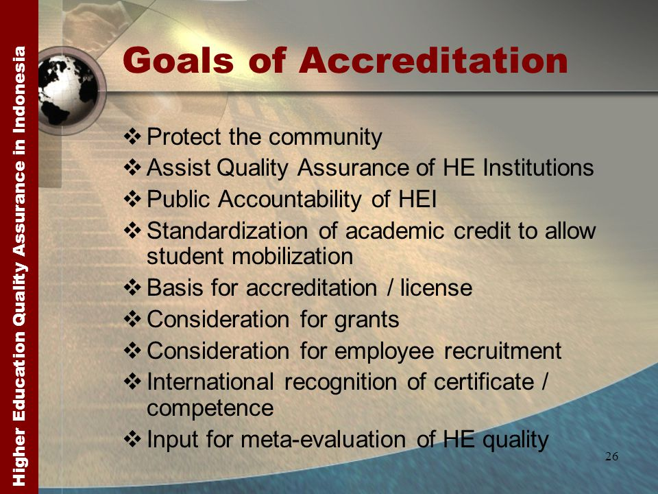 Higher Education Quality Assurance in Indonesia 26 Goals of Accreditation  Protect the community  Assist Quality Assurance of HE Institutions  Publ