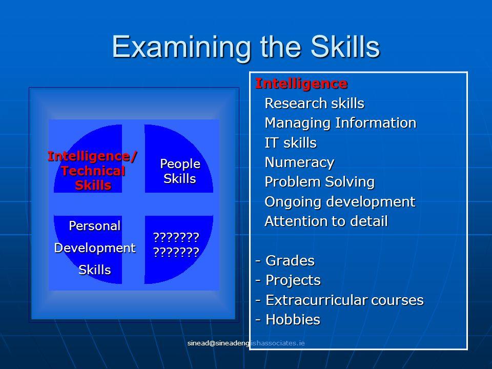 sinead@sineadenglishassociates.ie Examining the Skills Intelligence/ Technical Skills People Skills PersonalDevelopmentSkills ??????? ??????? Intellig