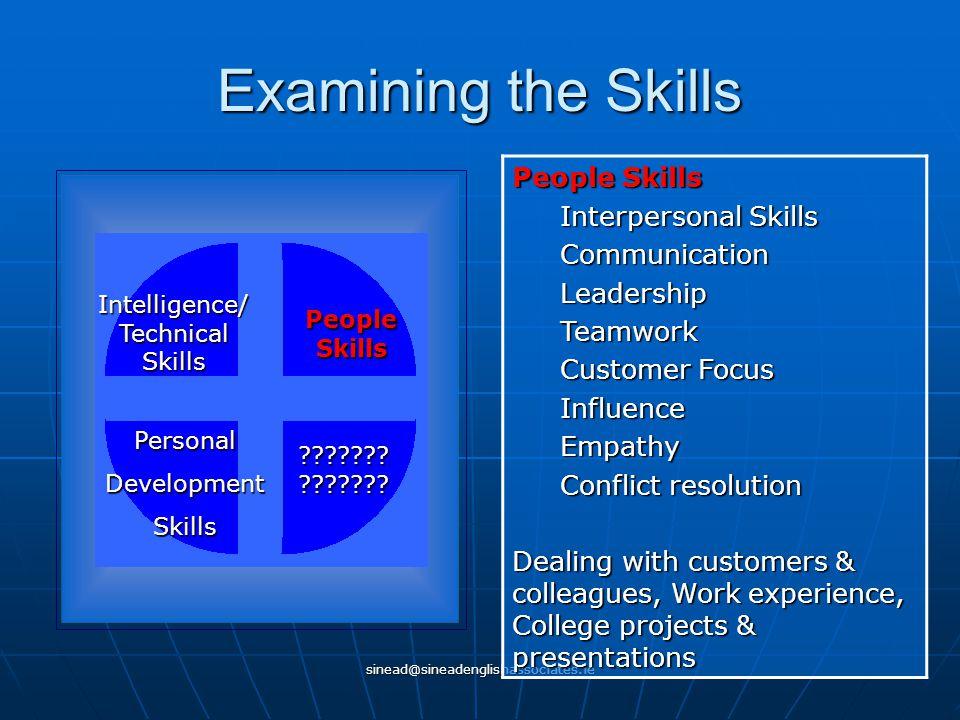 sinead@sineadenglishassociates.ie Examining the Skills Intelligence/ Technical Skills People Skills PersonalDevelopmentSkills ??????? ??????? People S
