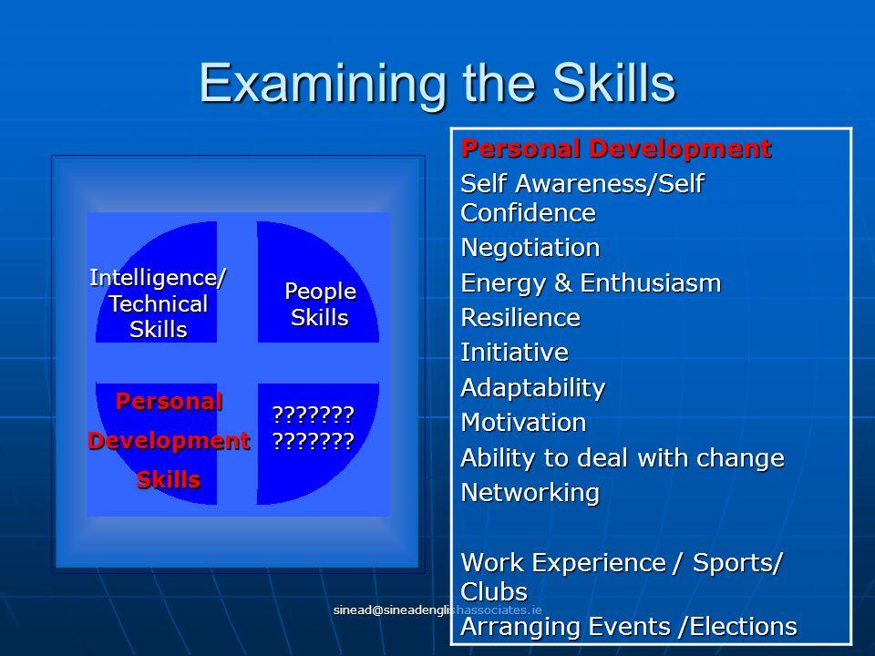 sinead@sineadenglishassociates.ie Examining the Skills Intelligence/ Technical Skills People Skills PersonalDevelopmentSkills ??????? ??????? Personal