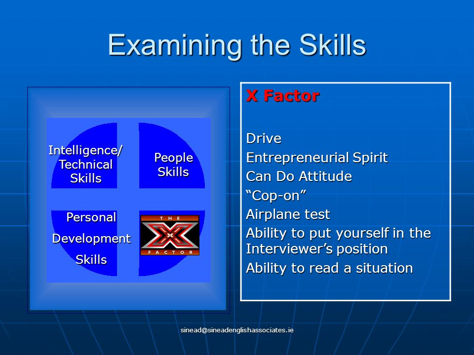 """sinead@sineadenglishassociates.ie Examining the Skills X Factor Drive Entrepreneurial Spirit Can Do Attitude """"Cop-on"""" Airplane test Ability to put you"""