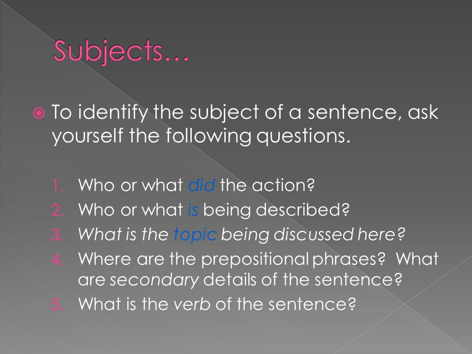  Simple Subject: › A single person, place, object, or topic is the focus of though.