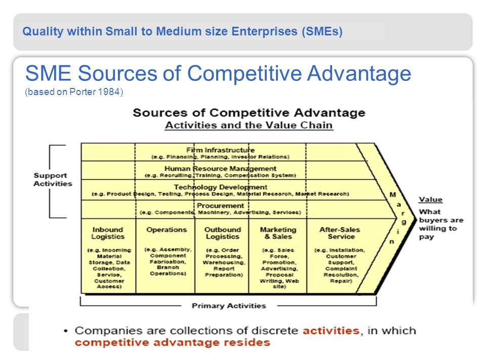 Quality within Small to Medium size Enterprises (SMEs) Standards in Action   SME Sources of Competitive Advantage (based on Porter 1984)