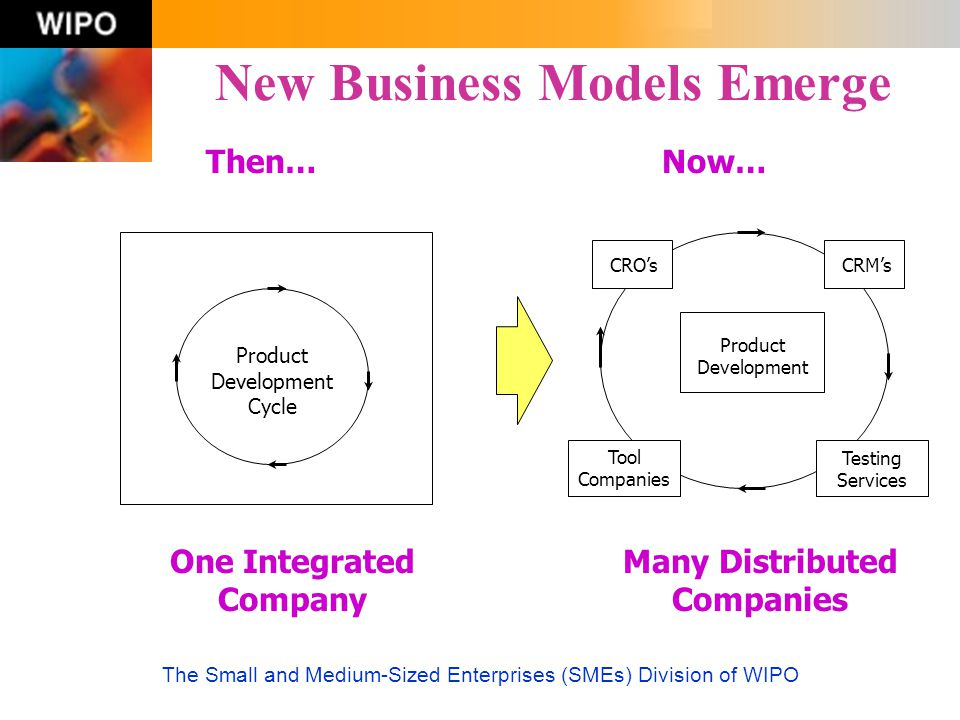 The Small and Medium-Sized Enterprises (SMEs) Division of WIPO New Business Models Emerge Then… One Integrated Company Now… Many Distributed Companies