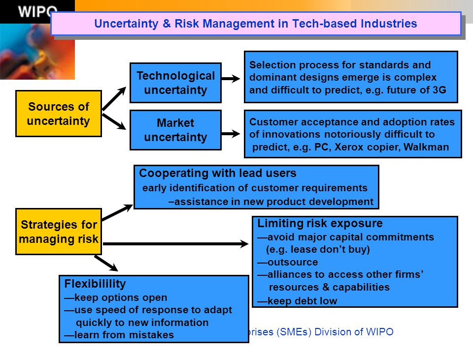 The Small and Medium-Sized Enterprises (SMEs) Division of WIPO Uncertainty & Risk Management in Tech-based Industries Sources of uncertainty Technolog