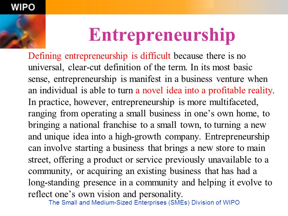 The Small and Medium-Sized Enterprises (SMEs) Division of WIPO Entrepreneurship Defining entrepreneurship is difficult because there is no universal,