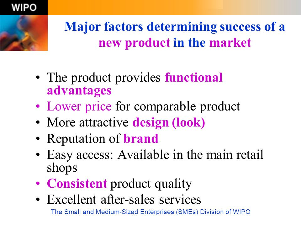 The Small and Medium-Sized Enterprises (SMEs) Division of WIPO Major factors determining success of a new product in the market The product provides f
