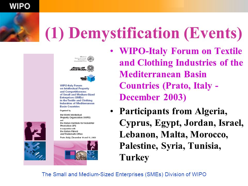 The Small and Medium-Sized Enterprises (SMEs) Division of WIPO (1) Demystification (Events) WIPO-Italy Forum on Textile and Clothing Industries of the