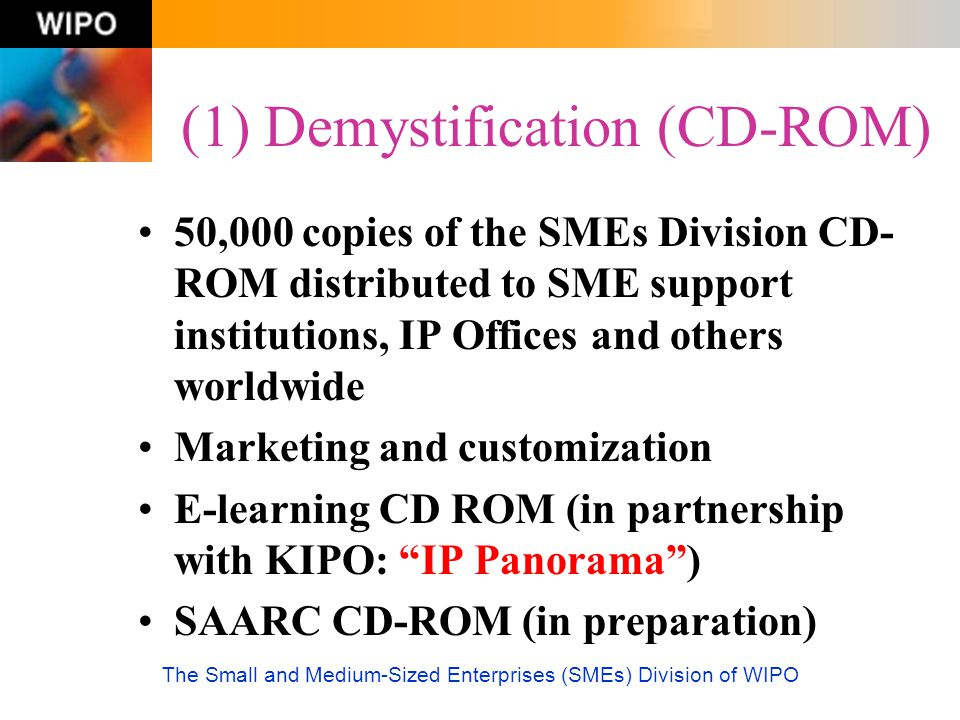 The Small and Medium-Sized Enterprises (SMEs) Division of WIPO (1) Demystification (CD-ROM) 50,000 copies of the SMEs Division CD- ROM distributed to
