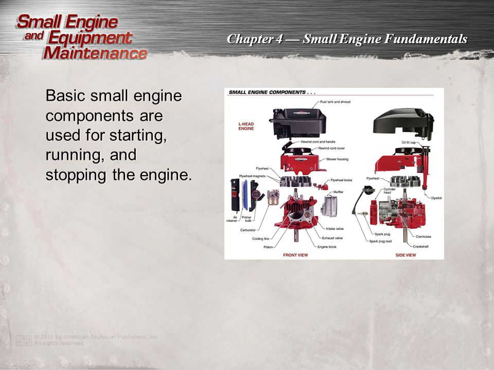 Chapter 4 — Small Engine Fundamentals Basic small engine components are used for starting, running, and stopping the engine.