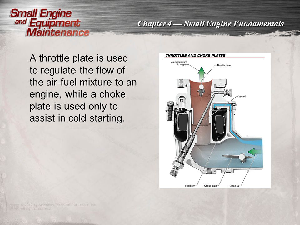 Chapter 4 — Small Engine Fundamentals A throttle plate is used to regulate the flow of the air-fuel mixture to an engine, while a choke plate is used