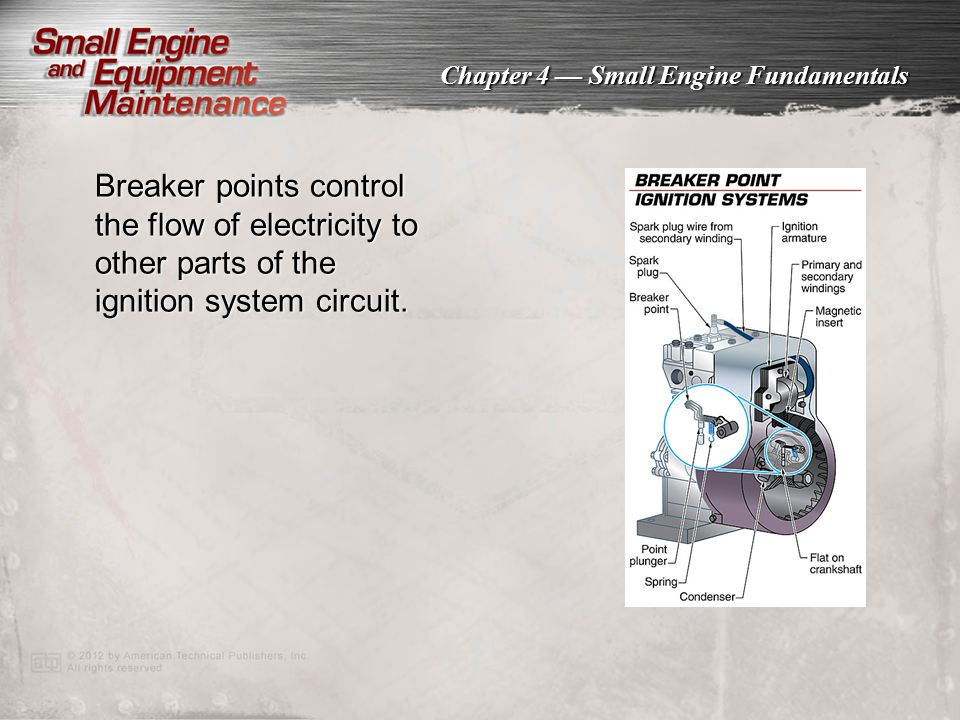Chapter 4 — Small Engine Fundamentals Breaker points control the flow of electricity to other parts of the ignition system circuit.