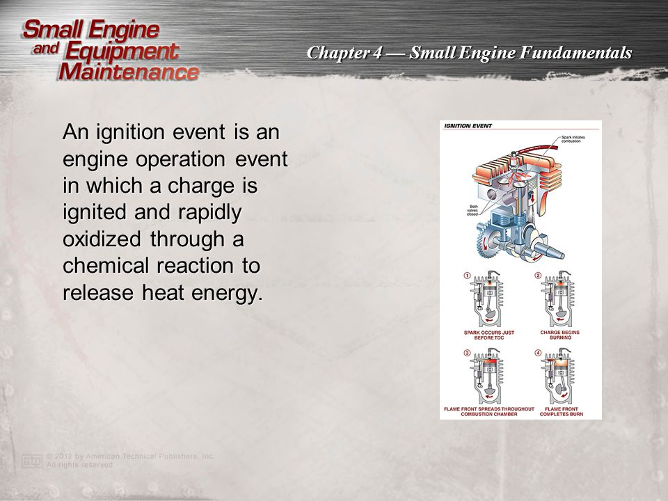 Chapter 4 — Small Engine Fundamentals An ignition event is an engine operation event in which a charge is ignited and rapidly oxidized through a chemi