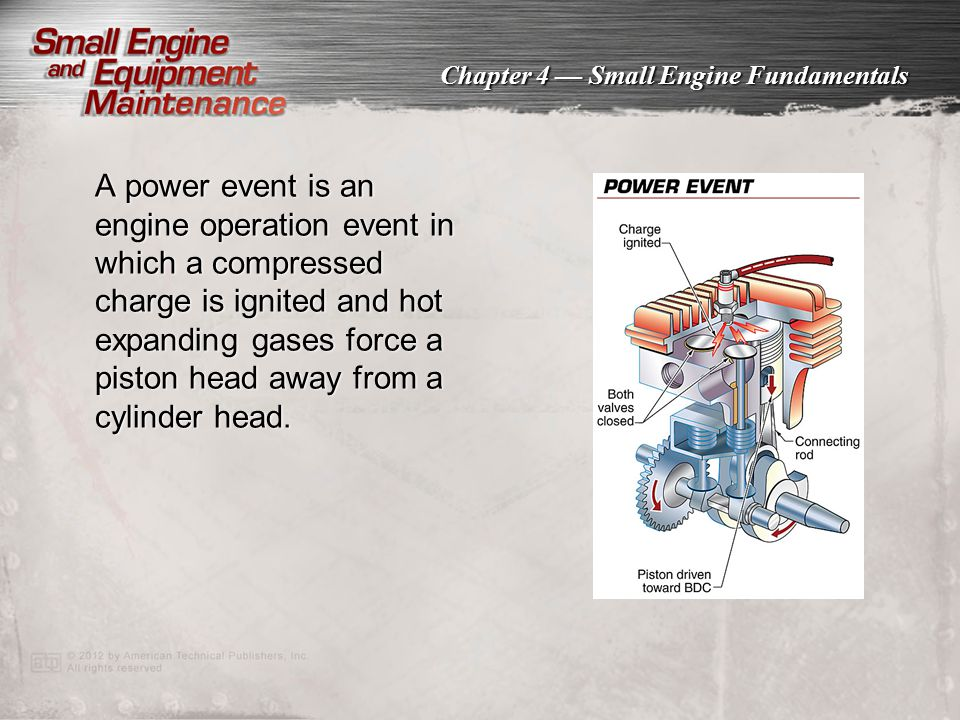 Chapter 4 — Small Engine Fundamentals Small engine braking systems include several components that are designed to stop an engine quickly.