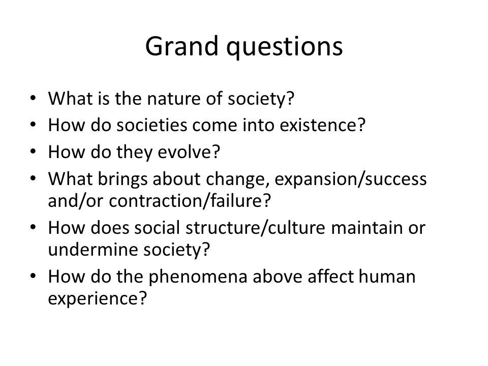 Grand questions What is the nature of society. How do societies come into existence.