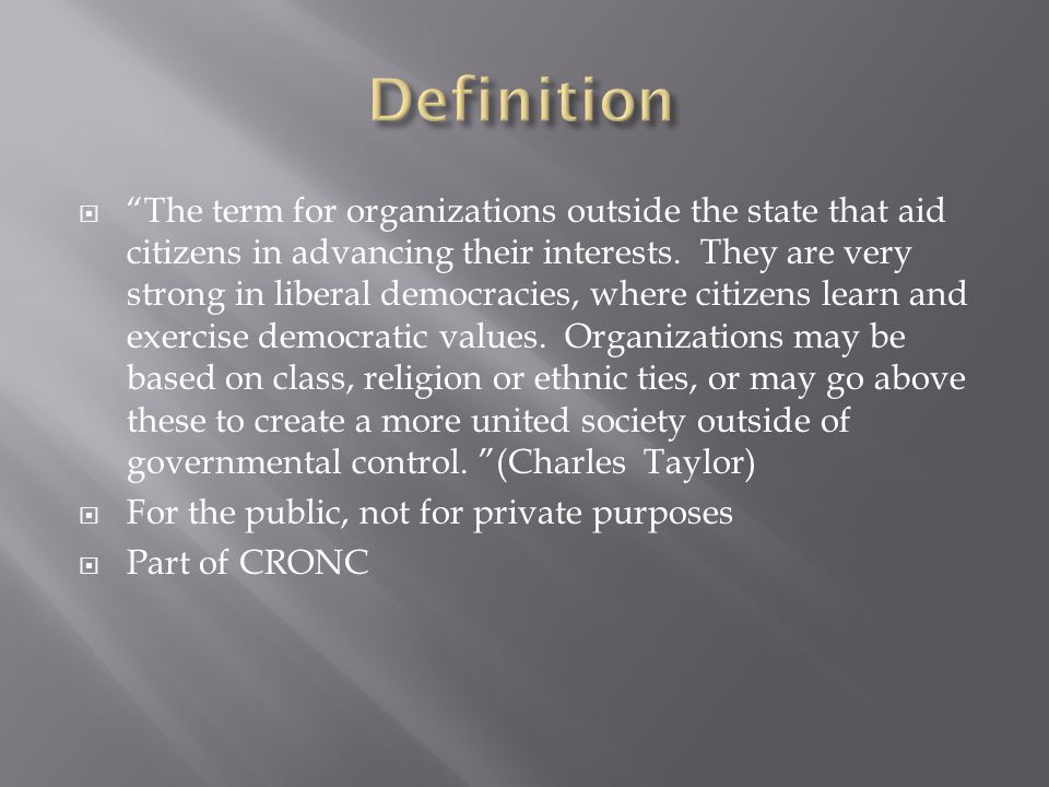  The term for organizations outside the state that aid citizens in advancing their interests.