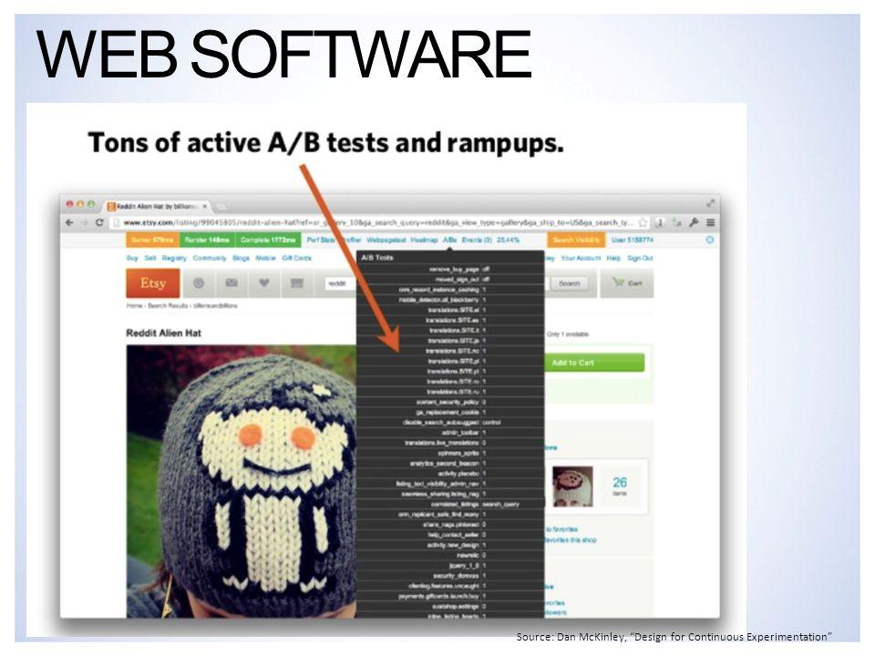 "WEB SOFTWARE Source: Dan McKinley, ""Design for Continuous Experimentation"""