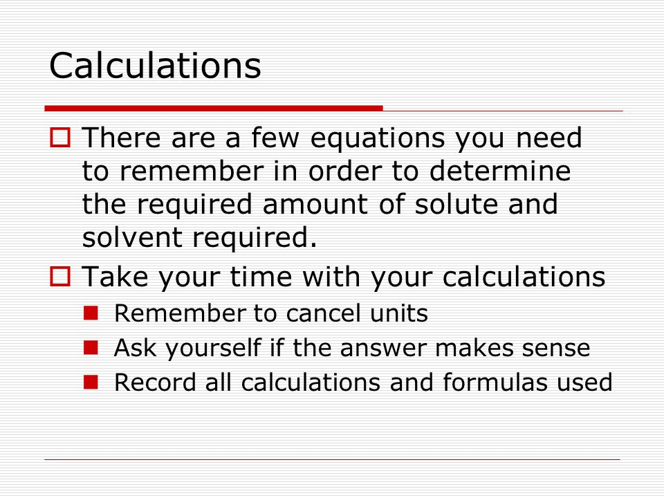 Practice Problem  How much solute is required to make 400 mL of 0.8 M CaCl 2 First what is the FW of CaCl 2 .
