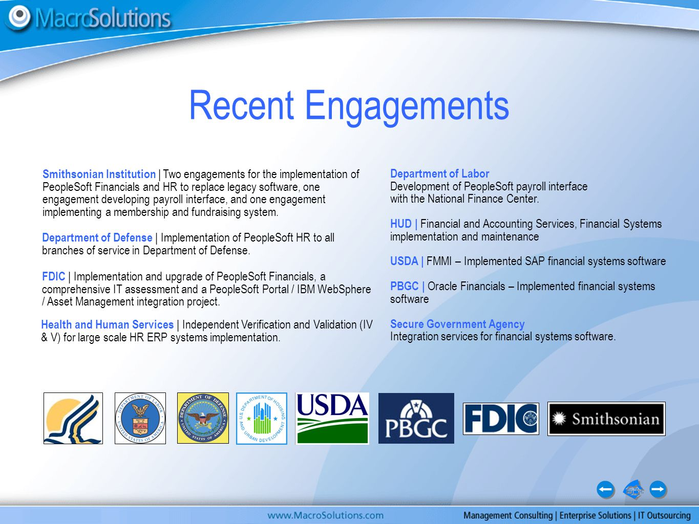 Department of Labor Development of PeopleSoft payroll interface with the National Finance Center.