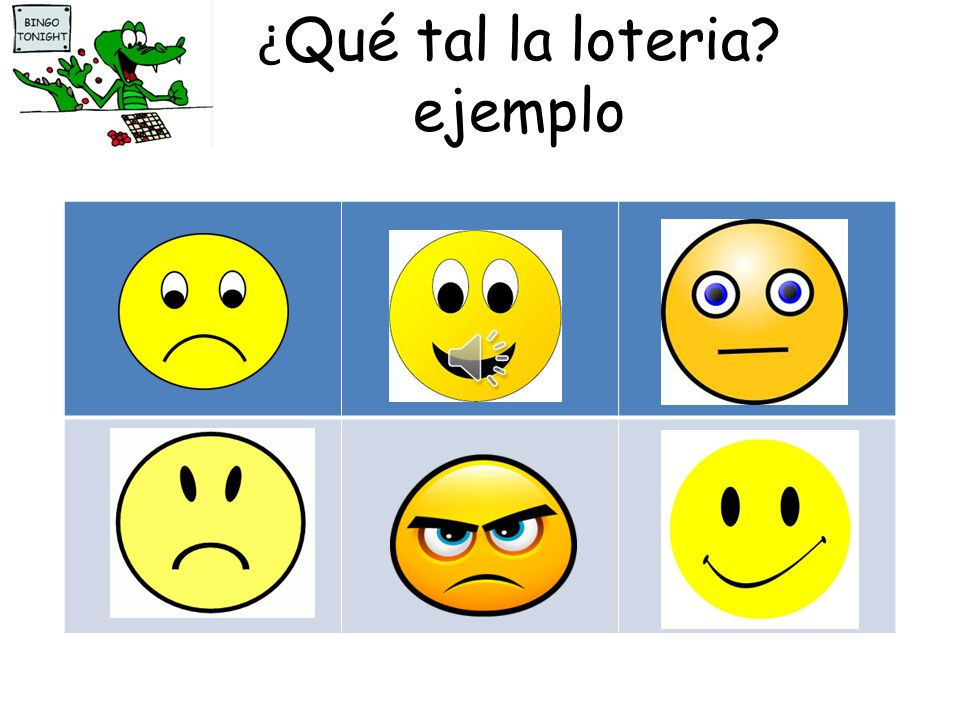 ¿ Qué tal la loteria? Copy the table into your jotters. Draw six smileys Ask the teacher Qué tal? If what they say matches your smiley, you can tick i