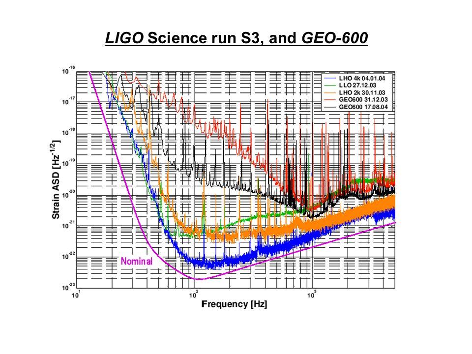 LIGO Science run S3, and GEO-600