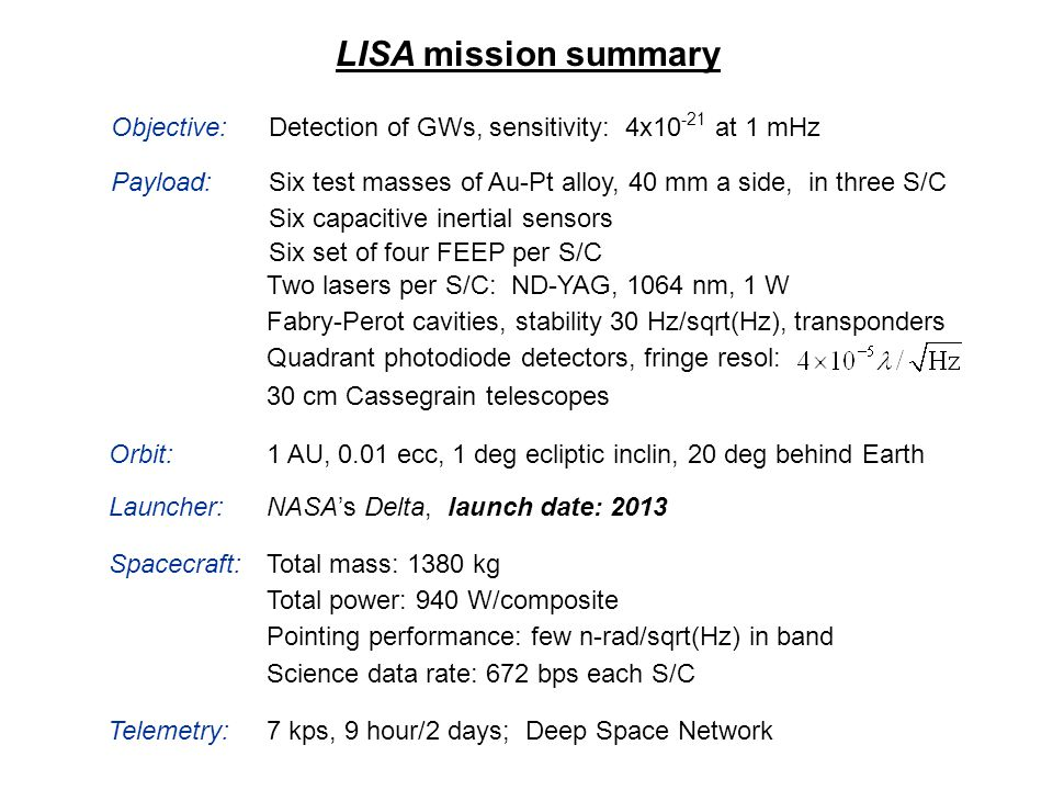 LISA mission summary Detection of GWs, sensitivity: 4x10 -21 at 1 mHz Payload: Objective: Six capacitive inertial sensors Six set of four FEEP per S/C
