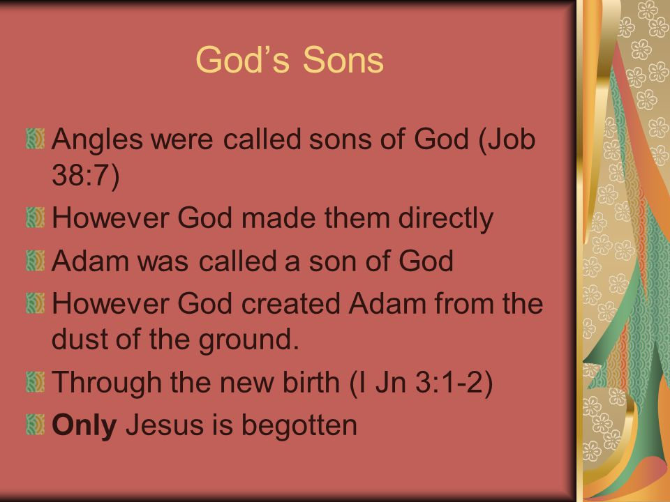 God's Sons Angles were called sons of God (Job 38:7) However God made them directly Adam was called a son of God However God created Adam from the dust of the ground.