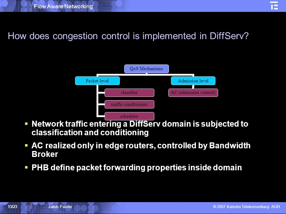 Flow Aware Networking © 2007 Katedra Telekomunikacji AGH 13/23Jakub Palider How does congestion control is implemented in DiffServ.