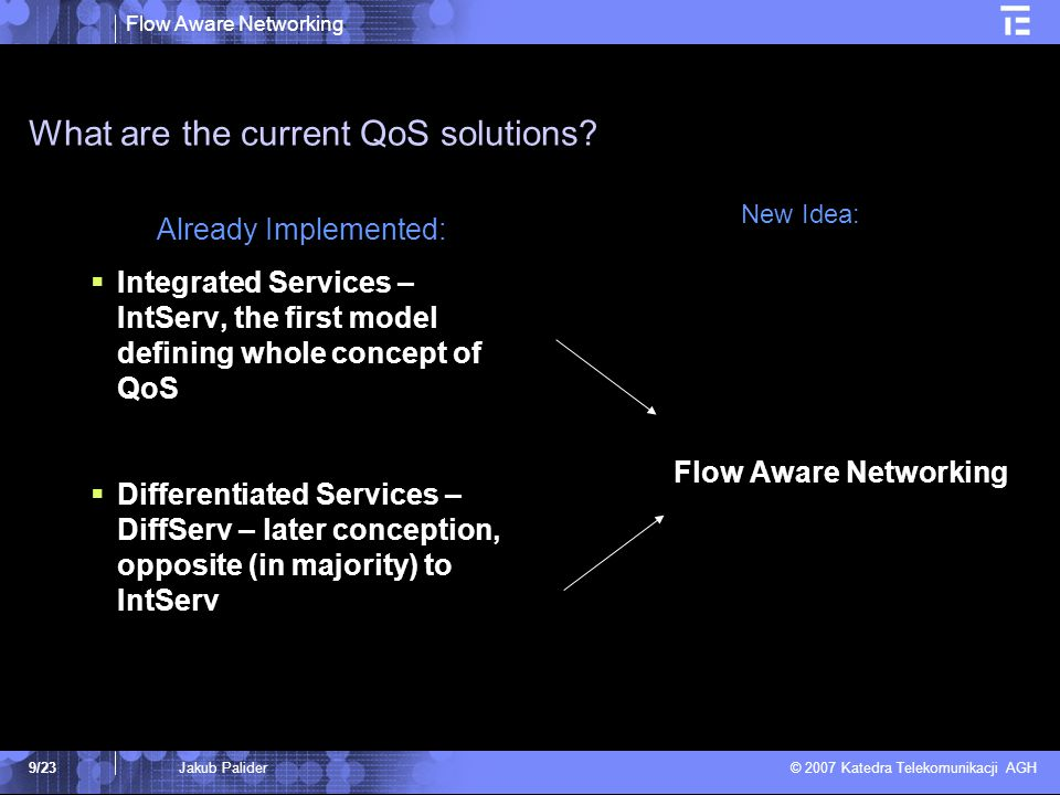 Flow Aware Networking © 2007 Katedra Telekomunikacji AGH 9/239/23Jakub Palider What are the current QoS solutions? Already Implemented:  Integrated S