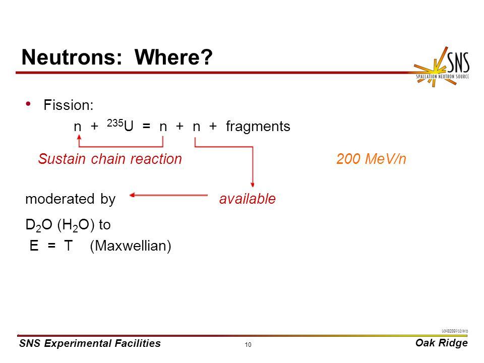 SNS Experimental Facilities Oak Ridge X0000910/arb 10 Neutrons: Where.