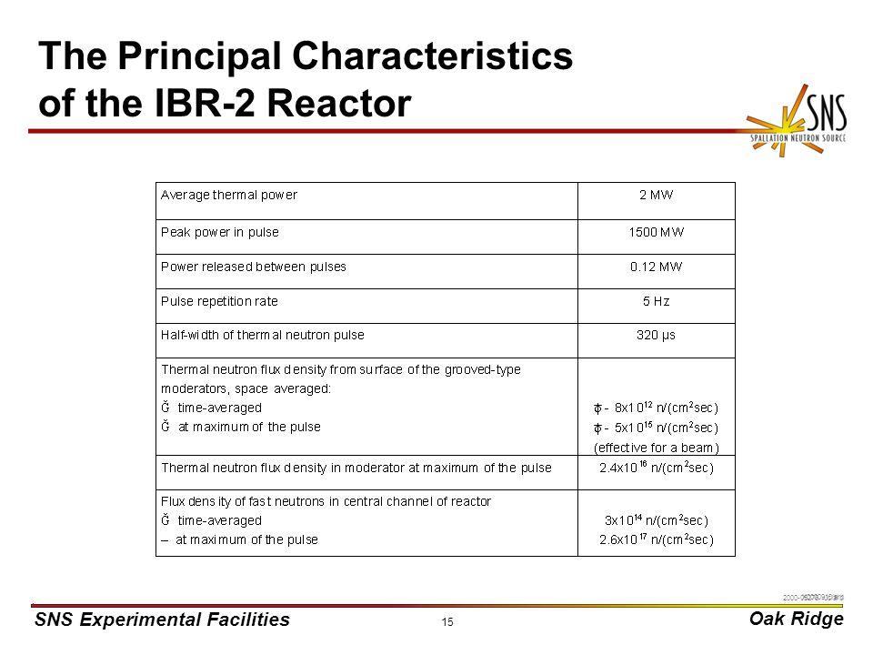 SNS Experimental Facilities Oak Ridge X0000910/arb 15 The Principal Characteristics of the IBR-2 Reactor 2000-05276 uc/arb