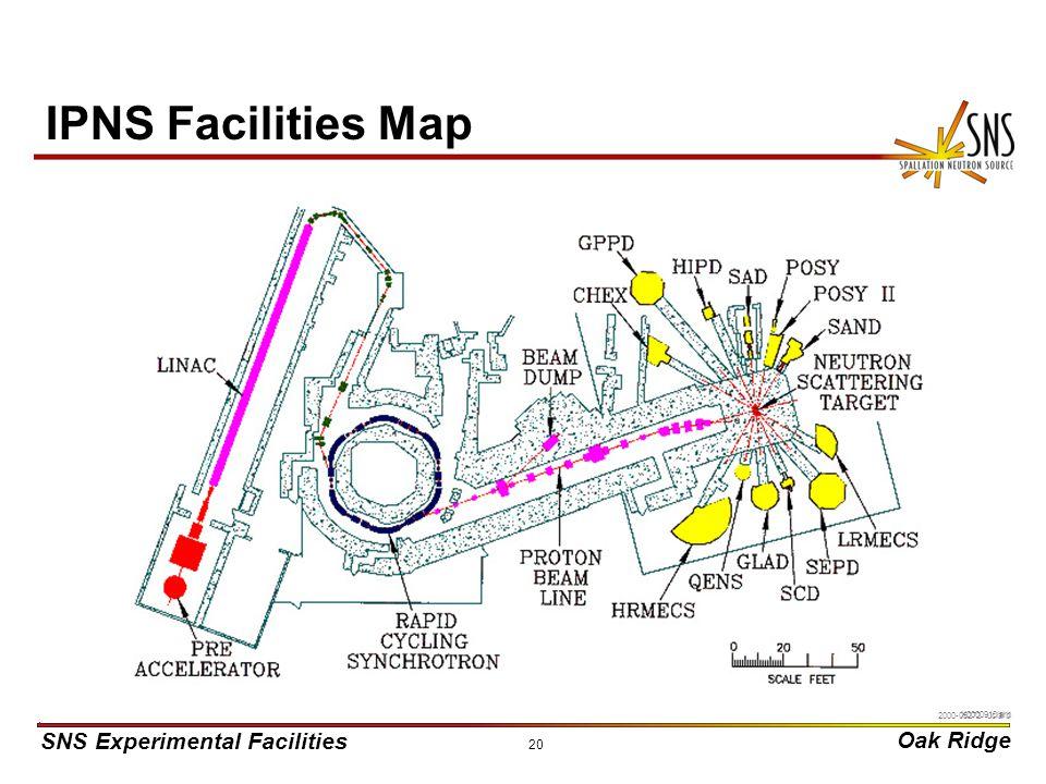 SNS Experimental Facilities Oak Ridge X0000910/arb 20 IPNS Facilities Map 2000-05272 uc/arb