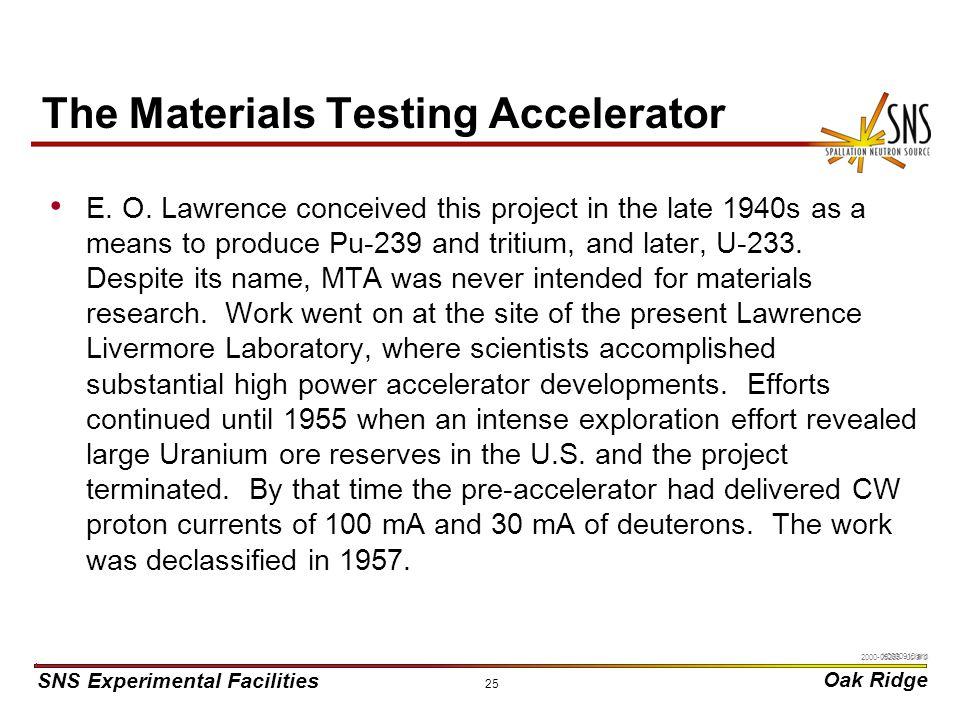 SNS Experimental Facilities Oak Ridge X0000910/arb 25 The Materials Testing Accelerator E.
