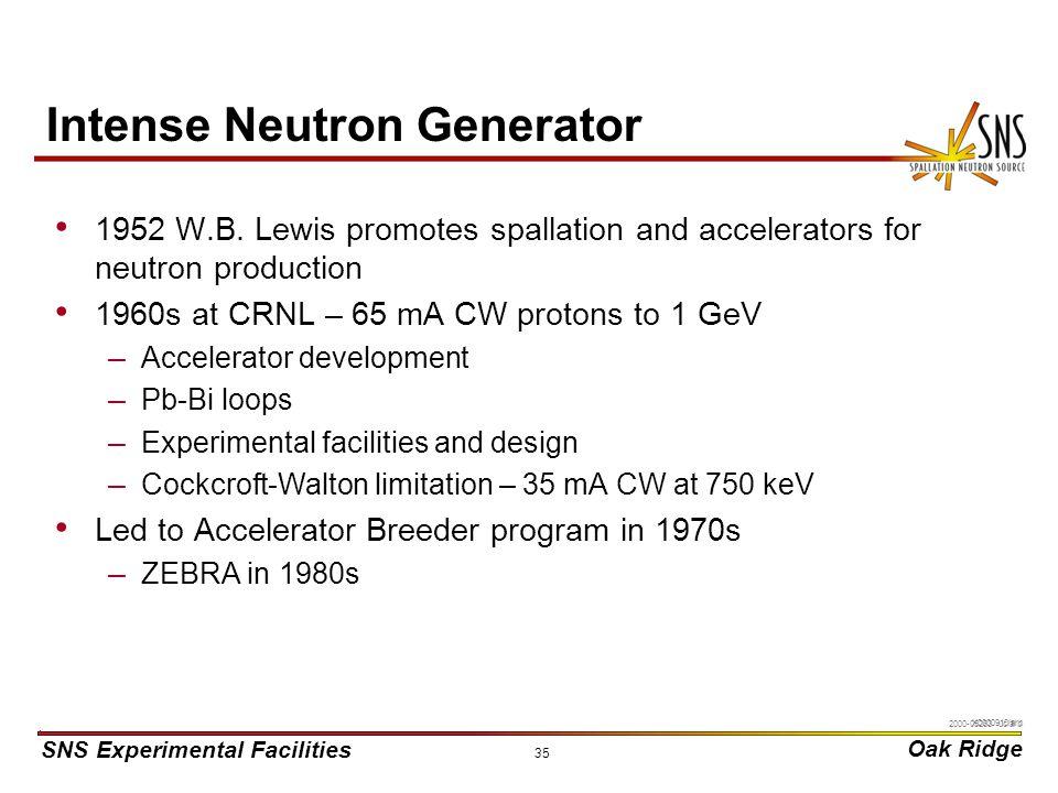 SNS Experimental Facilities Oak Ridge X0000910/arb 35 Intense Neutron Generator 1952 W.B.