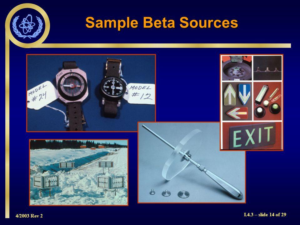 4/2003 Rev 2 I.4.3 – slide 14 of 29 Sample Beta Sources
