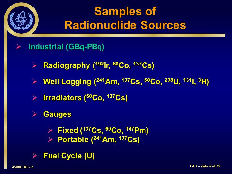 4/2003 Rev 2 I.4.3 – slide 6 of 29  Industrial (GBq-PBq)  Radiography ( 192 Ir, 60 Co, 137 Cs)  Well Logging ( 241 Am, 137 Cs, 60 Co, 238 U, 131 I, 3 H)  Irradiators ( 60 Co, 137 Cs)  Gauges  Fixed ( 137 Cs, 60 Co, 147 Pm)  Portable ( 241 Am, 137 Cs)  Fuel Cycle (U) Samples of Radionuclide Sources