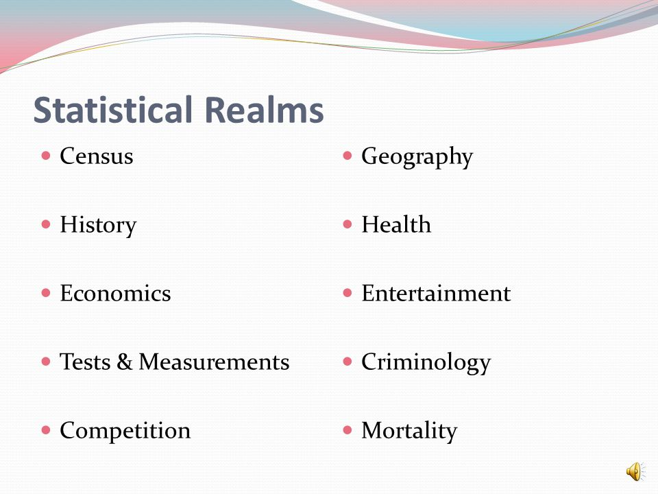Statistical Realms Census History Economics Tests & Measurements Competition Geography Health Entertainment Criminology Mortality