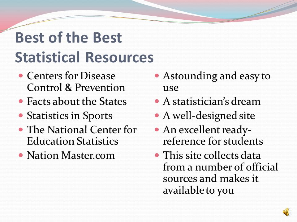 Best of the Best Statistical Resources Centers for Disease Control & Prevention Facts about the States Statistics in Sports The National Center for Education Statistics Nation Master.com Astounding and easy to use A statistician's dream A well-designed site An excellent ready- reference for students This site collects data from a number of official sources and makes it available to you
