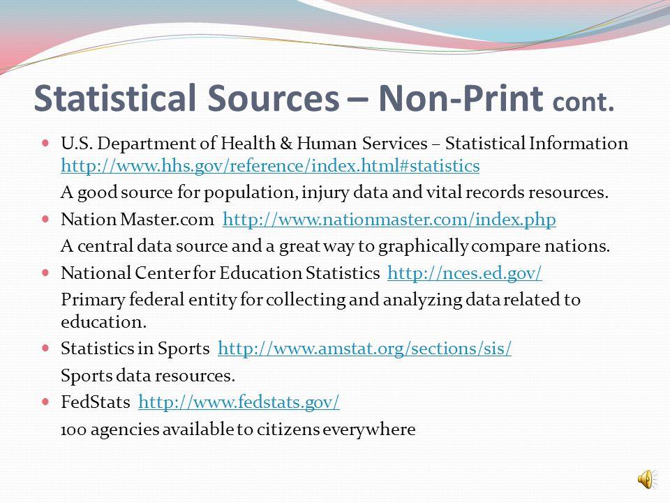 Statistical Sources – Non-Print cont.U.S.