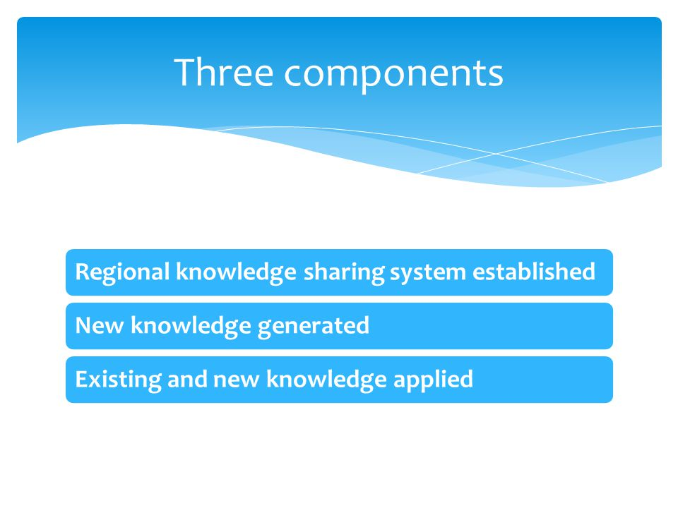 Regional knowledge sharing system establishedNew knowledge generatedExisting and new knowledge applied Three components