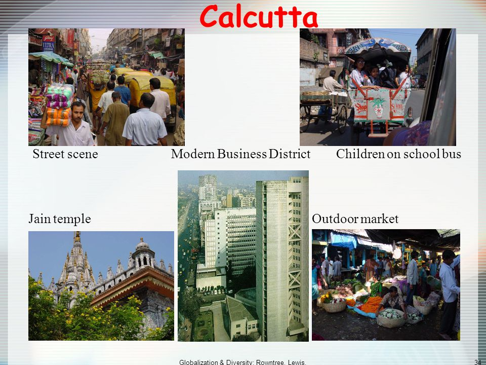 Globalization & Diversity: Rowntree, Lewis, Price, Wyckoff 33 Population and Settlement: The Demographic Dilemma (cont.) Urban South Asia (cont.) –Cal