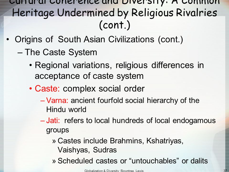 Globalization & Diversity: Rowntree, Lewis, Price, Wyckoff 36 Cultural Coherence and Diversity: A Common Heritage Undermined by Religious Rivalries (c