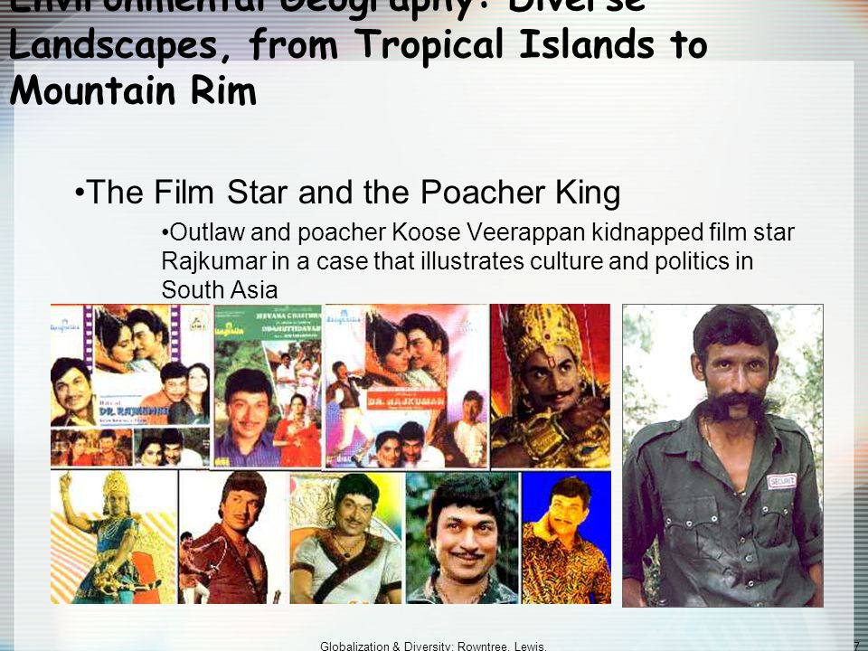 Globalization & Diversity: Rowntree, Lewis, Price, Wyckoff 7 Environmental Geography: Diverse Landscapes, from Tropical Islands to Mountain Rim The Film Star and the Poacher King Outlaw and poacher Koose Veerappan kidnapped film star Rajkumar in a case that illustrates culture and politics in South Asia