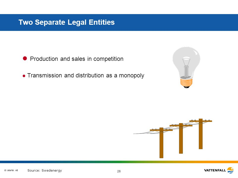 © Vattenfall AB 26 l Production and sales in competition l Transmission and distribution as a monopoly Two Separate Legal Entities Source: Swedenergy