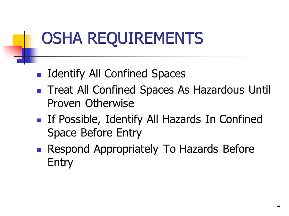4 OSHA REQUIREMENTS Identify All Confined Spaces Treat All Confined Spaces As Hazardous Until Proven Otherwise If Possible, Identify All Hazards In Co