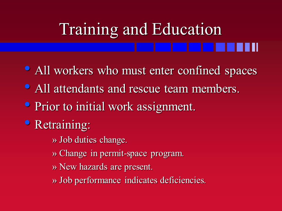 Training and Education All workers who must enter confined spaces All workers who must enter confined spaces All attendants and rescue team members.